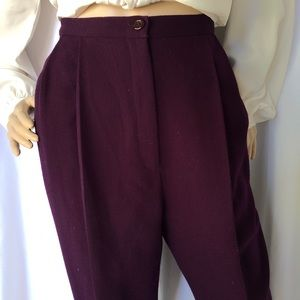 VINTAGE High waisted pleated front wool dress pant